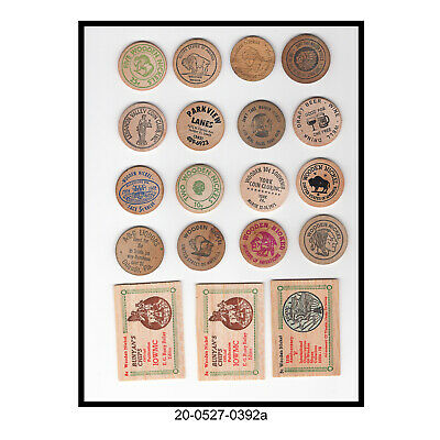 Mixed Lot of 19 Flat & Round Wooden Nickels