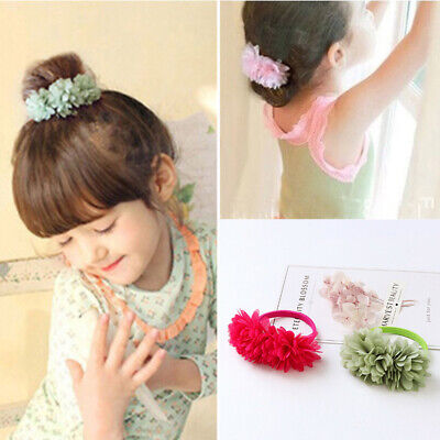 Multi-layer Girls Elastic Accessories Hair Bands Kids Flower Clips