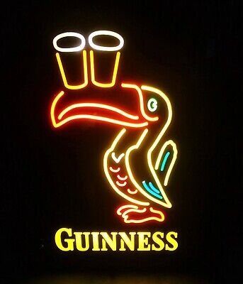 Guinness Irish Lager Lit, Vintage Toucan Beer Sign. 15 1/4 x 19 1/2 x 5 1/2.