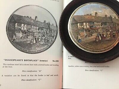 Antique Pot Lid Shakespeare's Birthplace Dotted Border Wooden Mount