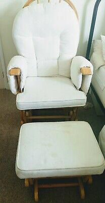 Maternity Rocking Nursing Chair Breast Feeding With Stool Pine Frame beige