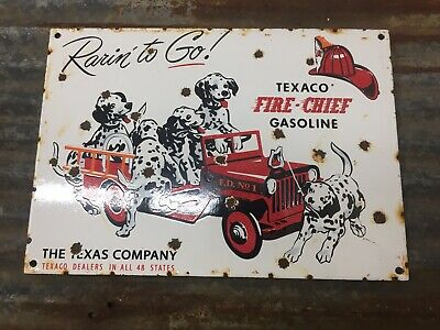 Texaco Fire Chief Porcelain Sign Gas Station Pump Plate Motor Oil Dalmatian Dog