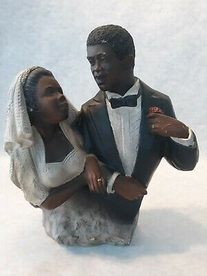 African American Couple Wedding Figurine Approx 8-1/4 inches tall