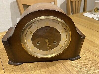 A Nice Shaped Vintage Smiths Westminster Chime Mantel Clock In Working Order