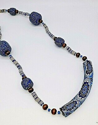 "Vintage Venetian Millefiori Large Glass Bead Necklace 30"" w Silver Hook Clasp"