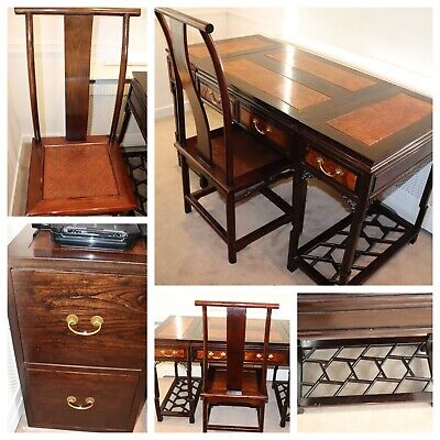 Vintage Chinese Elm Writing Desk And File Cabinet