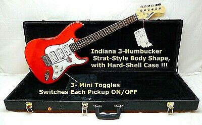 3 Humbucker Pickups, Indiana Electric Guitar Hardshell CASE CUSTOM Wired Toggle