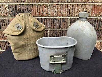 WWI US ARMY M-1910 Canteen with Cover & Cup matching set- L.F. & C. 1918