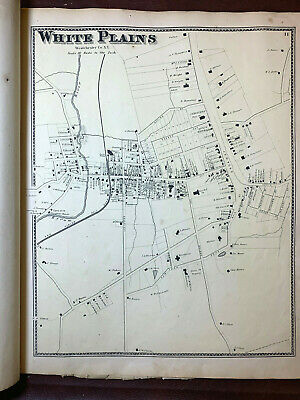 1867 Antique Ny Beers Map Atlas Page White Plains Westchester Original