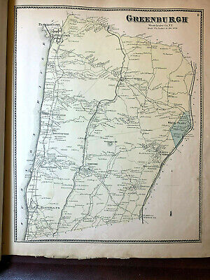 1867 Antique Ny Beers Map Atlas Page Dobbs Ferry White Plains Westchester Orig
