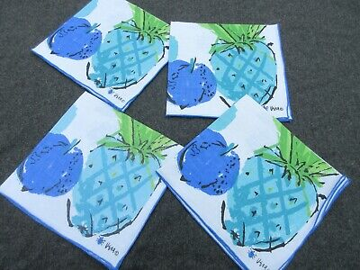 Vintage set of 4 blue green linen mixed fruit VERA napkins