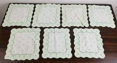 Vintage Lot Of 7 Embroidered Green & White Doilies