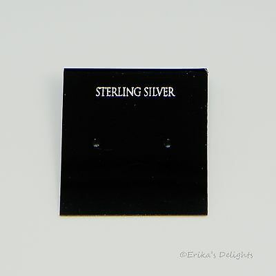 """1 inch Black """"Sterling Silver"""" Earring Cards 10pc"""
