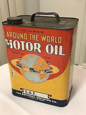 Vintage Around The World Motor Oil 2 Gallon Metal Can Advertising Gas Oil