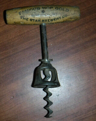 Vintage 1930'S Star Brewery Co Wine Beer Corkscrew Made In Usa Original L@@K