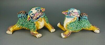 Fine Old Chinese Ceramic Wucai Porcelain Glazed Mythical Lion Dog Temple Statues