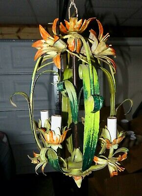 Vintage Tole Painted Metal Shabby Chic Chandelier Light Fixture Day Lilly Flower