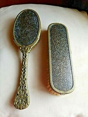 Vintage Hair Brush & Clothes Brush Brass & Wood