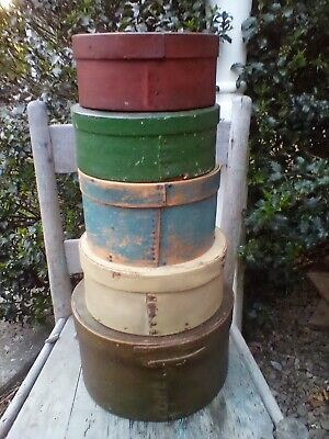 Early Primitive Stack Of 5 Antique Wooden Pantry Boxes Original Old Paint