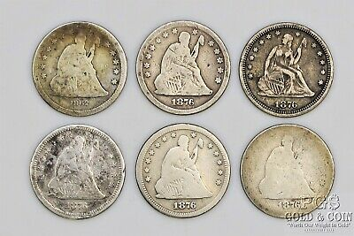 6 Seated Liberty Quarter 25c Asst Date 1862 1876-5 US Silver Coins 19000