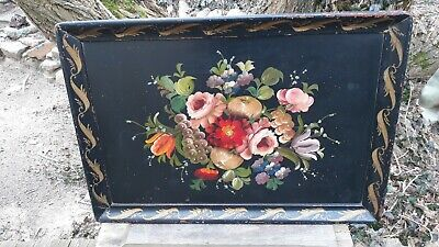 Vintage Tole Painted Wooden Serving Tray Flowers Fruit 27x19