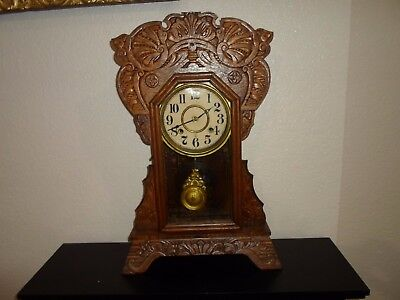 Antique Victorian oak fancy shelf, mantle or kitchen clock,