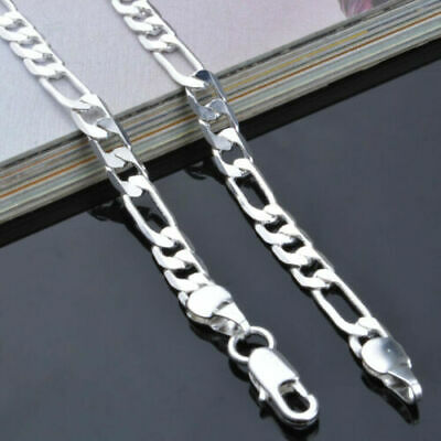 "925 Silver Plated 5mm Curb Cuban Chain Classic Necklace 20"" Men's Women's"