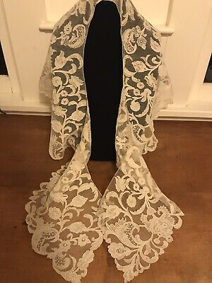 Beautiful Handmade Antique Burano Large Lace Collar Great Condition Light Cream