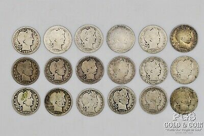 18 Barber Quarter 25c Assorted Date US Silver Coins $4.50 18617