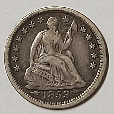 1853 Seated Liberty Silver Half Dime W Stars & Arrows next to date Variety 3!