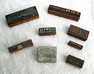 Antique Wood Printer Block Stamps - Rockford Illinois - Busch Jewelers-Amerock