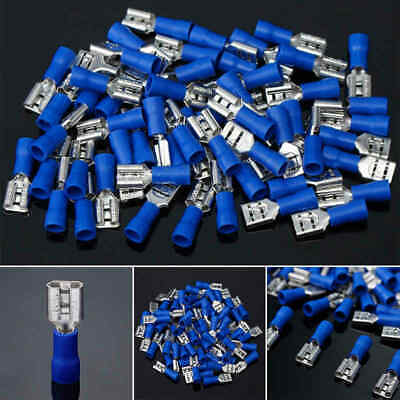 100PC Blue 6.3mm Female Spade Insulated 14-16AWG Crimp Quick Disconnect Terminal
