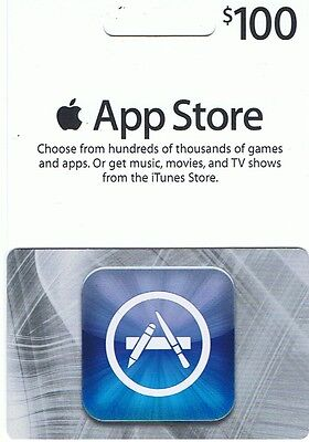 iTunes $100 Gift Card/Certificate US App/Music US Store Fast Ship Apple