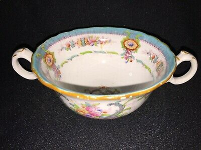 Royal Cauldon England China H9120 Aqua - Two Handled Bouillon Cup - Antique