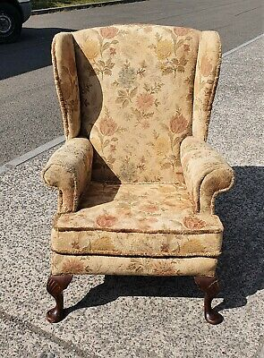 Vintage Wing Back Armchair By Maple For Reupholstery  Delivery Available