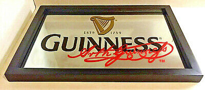 Guinness Beer Bar Mirror Signed Arth Guinness 18 X 13 Hanging Sign - Very Nice!!