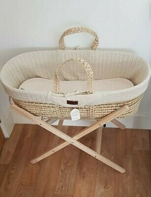 Little Green Sheep Natural Knitted Moses Basket, Mattress, Protector & Stand