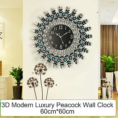 Large Modern 3D Crystal Wall Clock Luxury Black Glass Round Dial Home Office Dec
