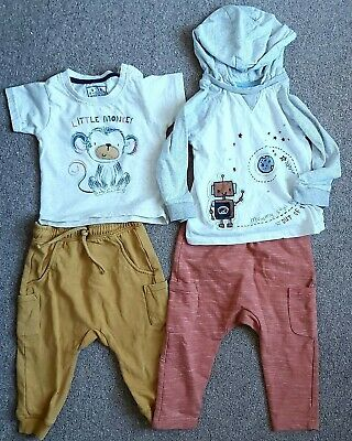 Baby Boys 9-12 Joggers Tops T Shirt Mark's And Spencer Nutmeg Bundle