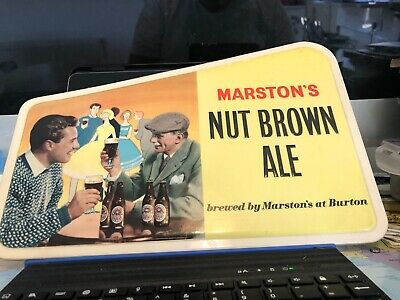 Vintage Marstons Burton On Trent Nut Brown Ale Sign new old stock embossed