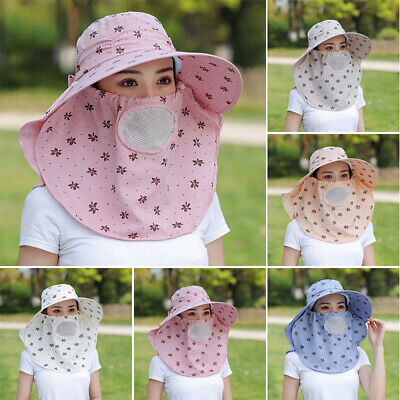 Womens Summer Anti-UV Sun Hat Face Protection Cover Cap Dustproof Windproof USA
