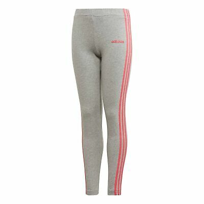 adidas Essentials 3-Stripes Girls Kids Sports Legging Tight Pant Grey/Pink