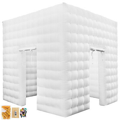 2 Doors Inflatable LED Light Photo Booth Tent 3M 9.8ft Exhibition Light-weighted
