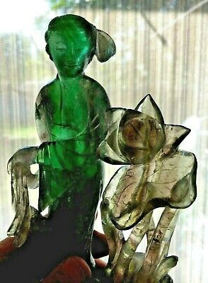 Antique Chinese Carved Emerald Green & White Hard Stone Woman With Lotus