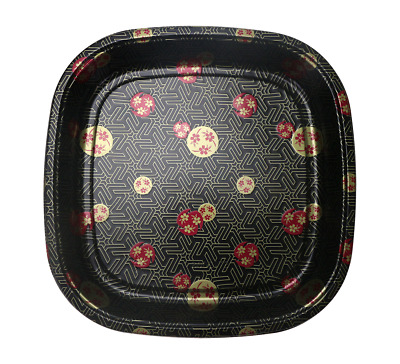 """14"""" Square Sakura Sushi Container To-go Party Tray Plate with Lid Food Container"""