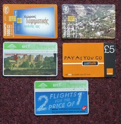 5 Phone Cards - 2 From Greece And 3 From Uk