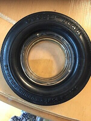 Vintage Goodyear Super Cushion Tire Ashtray With Glass Insert