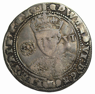 Great Britain Edward VI 1547-1553 AD Silver Sixpence Medieval Coin S.2483