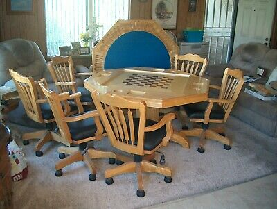 """Dining Table / POKER / CHESS 54"""" X 54"""" AND 6 ADJUSTABLE-SWIVEL-TILT CHAIRS"""