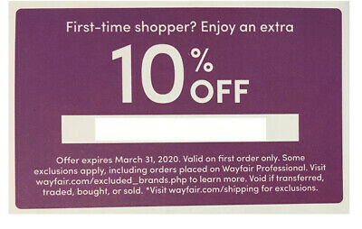 WAYFAIR.COM COUPON: Emailed Right Away! 10% Off First Order, expires 6/30/20